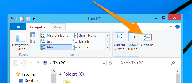 Folder search option Win 10 or 8