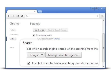 Gérer moteur de recherche chrome